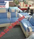 Thanh lý ghế Sofa da pha nỉ màu xanh ếch