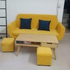 Thanh lý ghế sofa đơn nỉ màu vàng